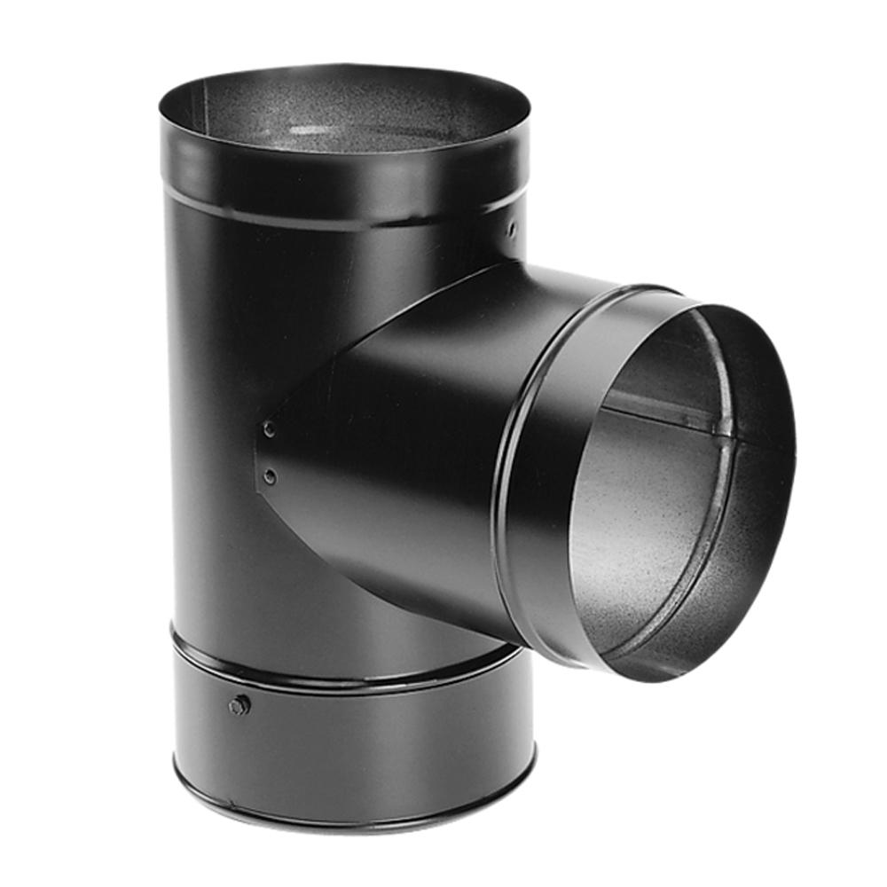 DuraBlack 6 in. Chimney Stove Pipe Tee with Clean-Out Cap