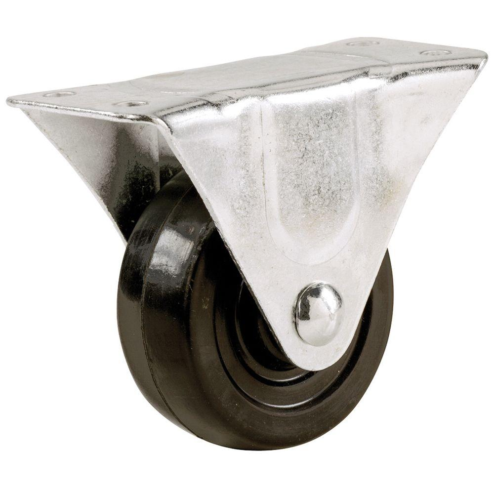Everbilt 1 1 2 In Soft Rubber Wheel Rigid Caster With 40 Lb Load