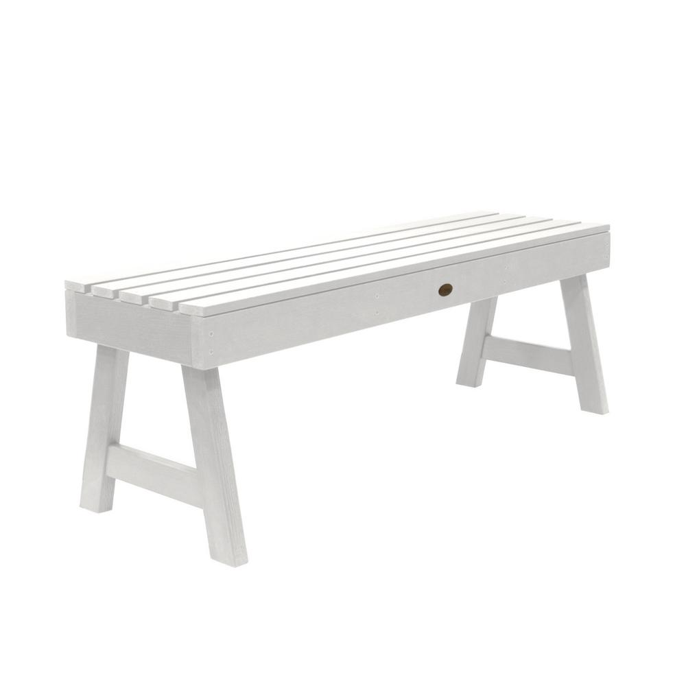 Highwood Weatherly 48 in. 2-Person White Recycled Plastic Outdoor Picnic Bench