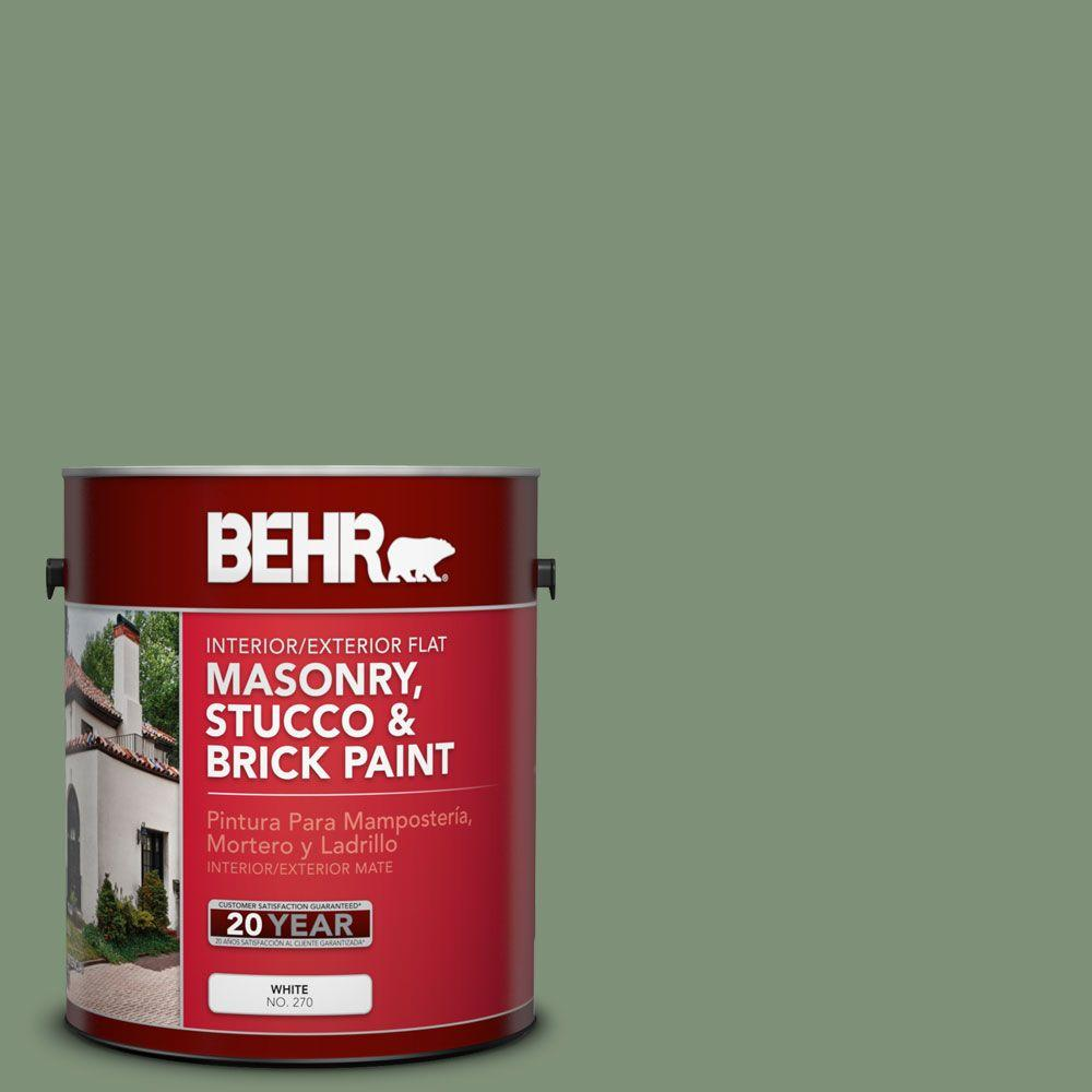 1-gal. #MS-60 Desert Sage Flat Interior/Exterior Masonry, Stucco and Brick Paint