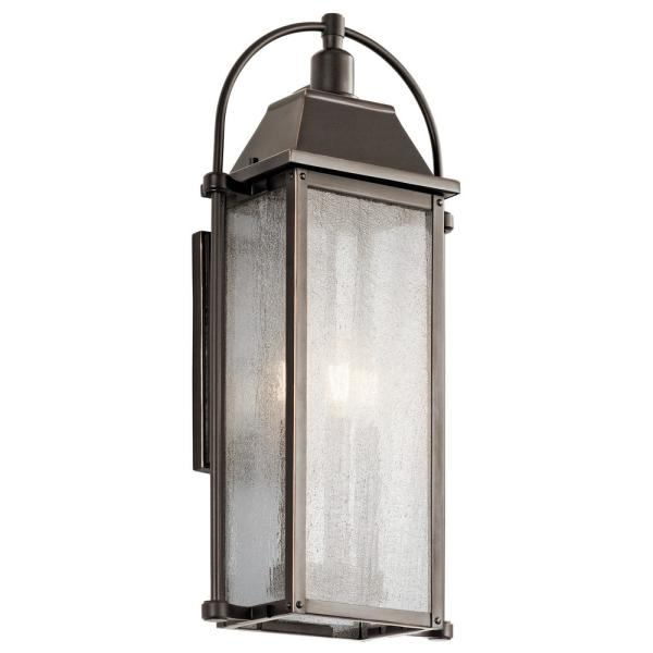 Kichler Harbor Row 3 Light Olde Bronze Outdoor Wall Mount Sconce With Clear Seeded Glass 49715oz The Home Depot