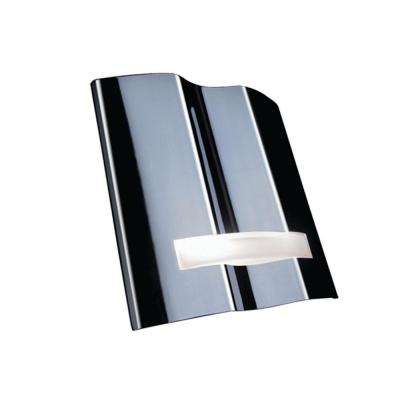 Ridged Form 1-Light Chrome Wall Sconce Complimented with Frosted Glass Applique