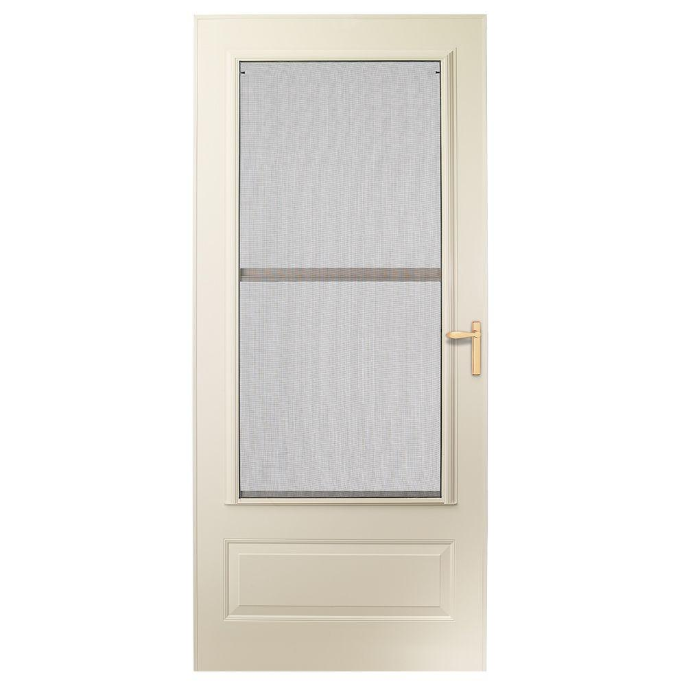 EMCO 36 in. x 80 in. 300 Series Almond Universal Triple-Track Aluminum Storm Door with Brass Hardware