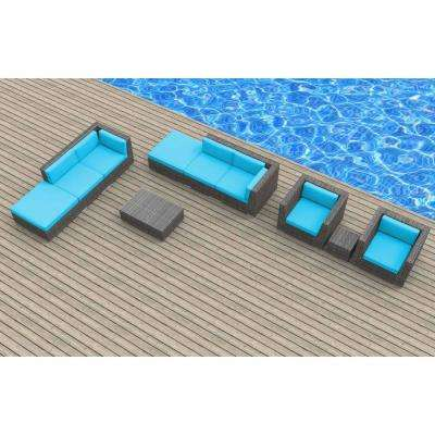Brunei 10-Piece Wicker Outdoor Sectional Seating Set with Sea Blue Cushions