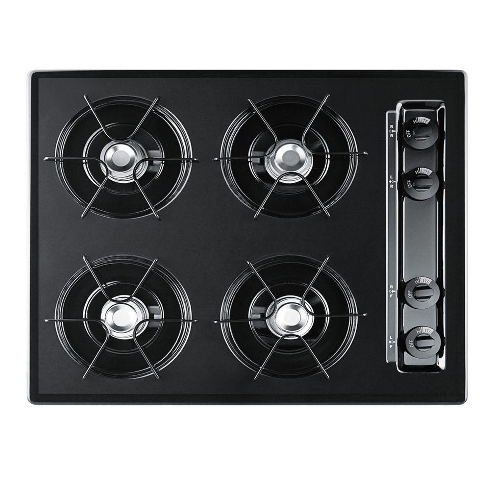 null 24 in. Gas Cooktop in Black with 4 Burners