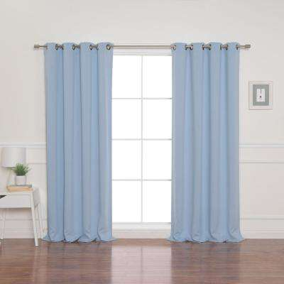 52 in. W x 84 in. L Flame Retardant Blackout Curtain Panel Set in Sky Blue