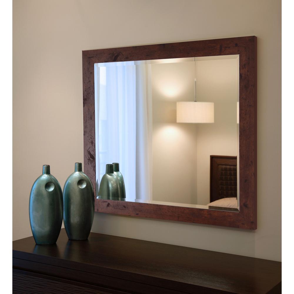 31.5 in. x 27.5 in. Rustic Dark Walnut Beveled Vanity Wall Mirror