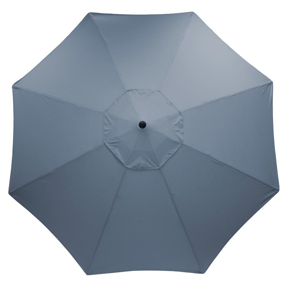 Perfect Plantation Patterns 11 Ft. Aluminum Market Patio Umbrella In Sunbrella  Spectrum Denim
