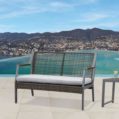 Calvin Gray Powder Coated Aluminum Outdoor Loveseat with Gray Cushions