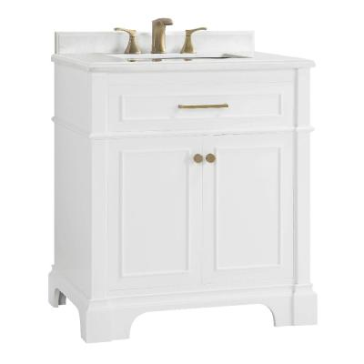 Melpark 30 in. W x 22 in. D Bath Vanity in White with Cultured Marble Vanity Top in White with White Sink