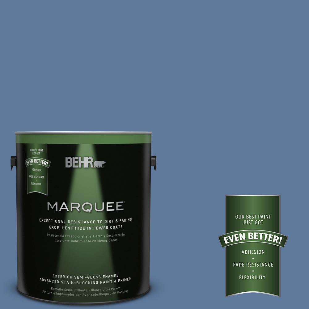 BEHR MARQUEE 1-gal. #PPU14-2 Glass Sapphire Semi-Gloss Enamel Exterior Paint