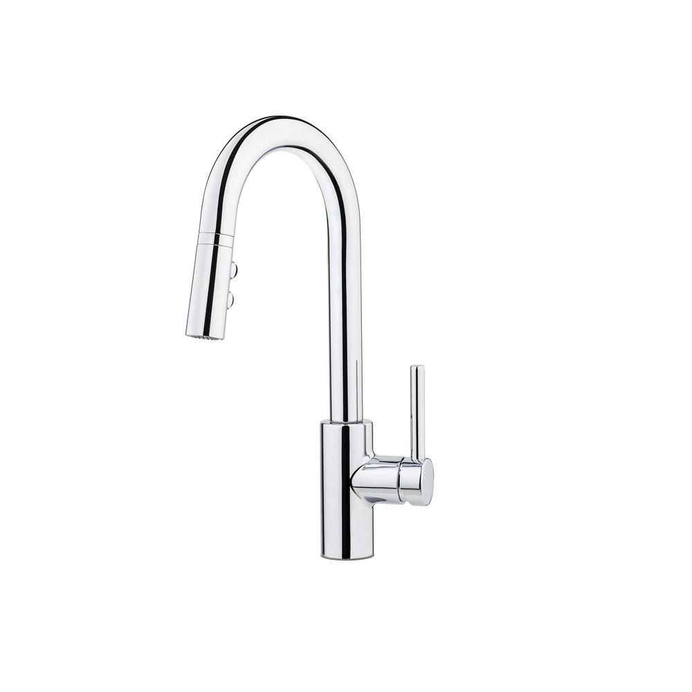 Pfister Stellen Single-Handle Bar Faucet with Pull-Down Sprayer in Polished Chrome