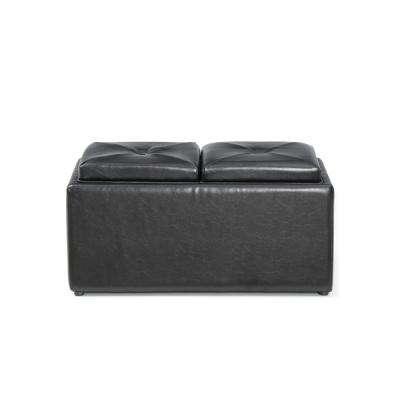 Faux Leather, Double Storage Black Ottoman with 2-Flip over Serving Trays