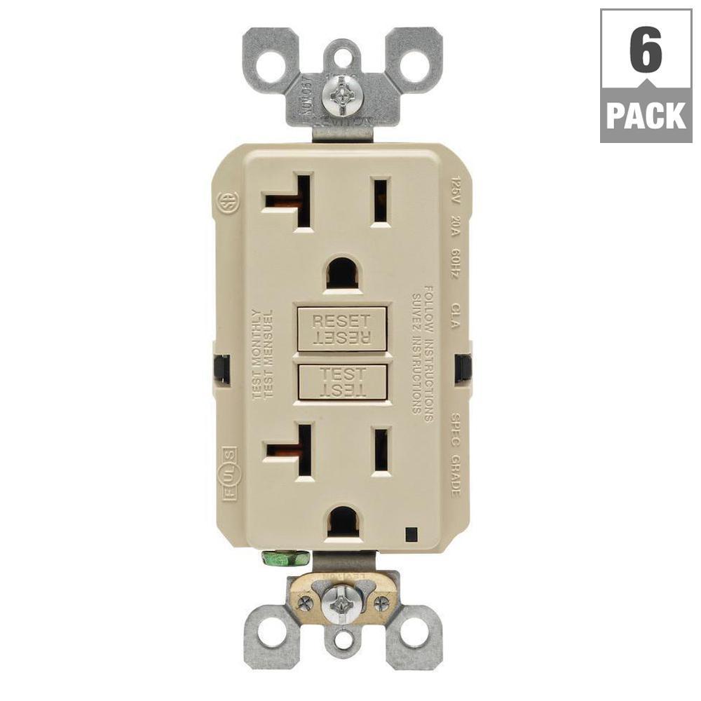 20 Amp Self-Test SmartlockPro Slim Duplex GFCI Outlet, Ivory (6-Pack)