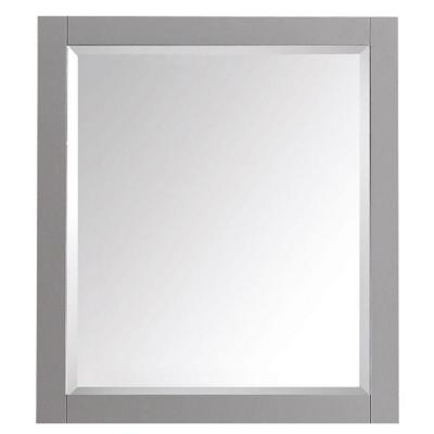 Transitional 28 in. W x 32 in. H Framed Rectangular Beveled Edge Bathroom Vanity Mirror in Chilled Gray