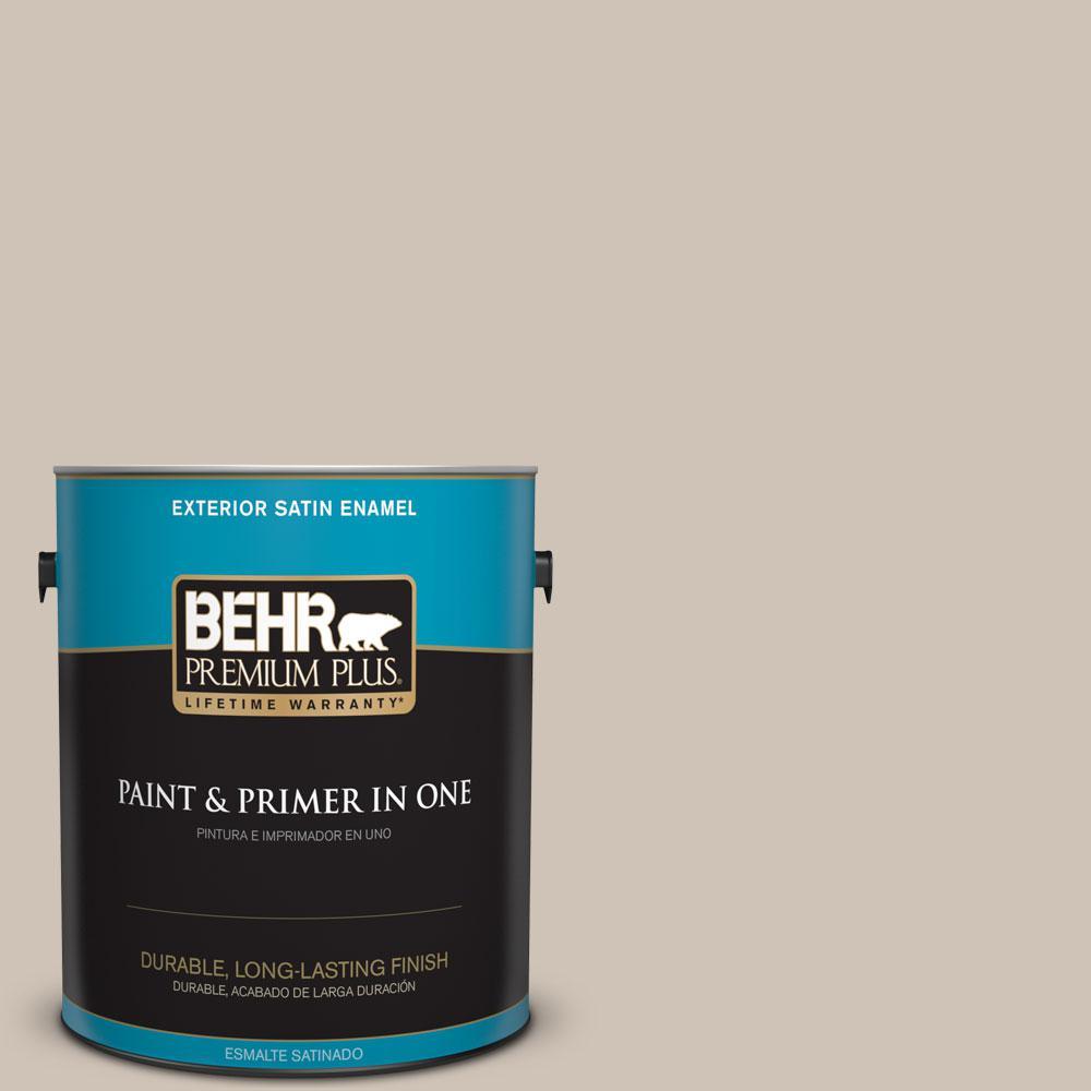 BEHR Premium Plus 1-gal. #PWN-70 Indulgent Mocha Satin Enamel Exterior Paint