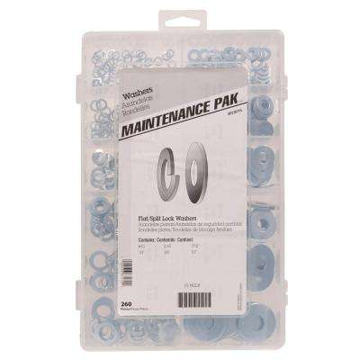 Zinc-Plated Flat and Split Washer Assortment Kit (310-Piece)