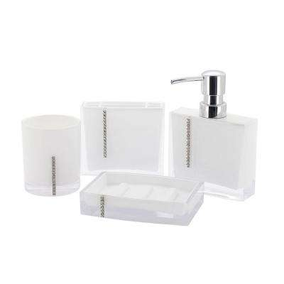 Crystal 4-Piece Bath Accessory Set in White