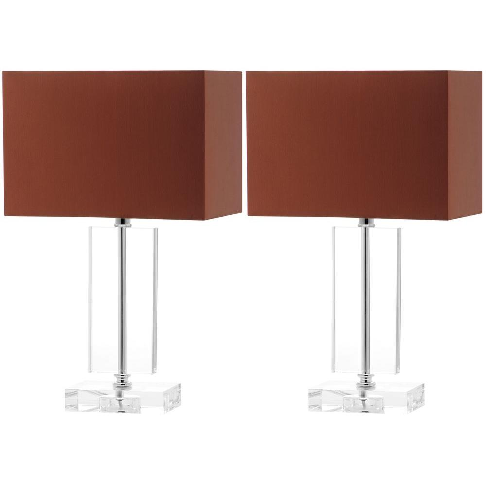 Art Moderne 15.75 in. Clear Crystal Lamp (Set of 2)
