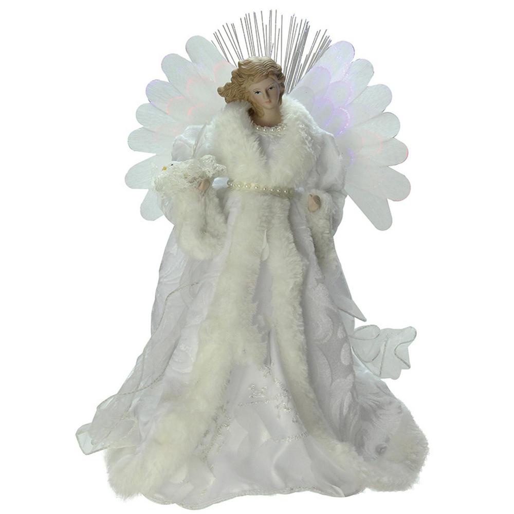 Christmas Tree Angel Tree Topper: Northlight 13 In. Lighted B/O Fiber Optic Angel With White