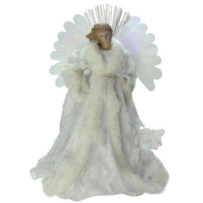 13 in. Lighted B/O Fiber Optic Angel with White Gown Christmas Tree Topper