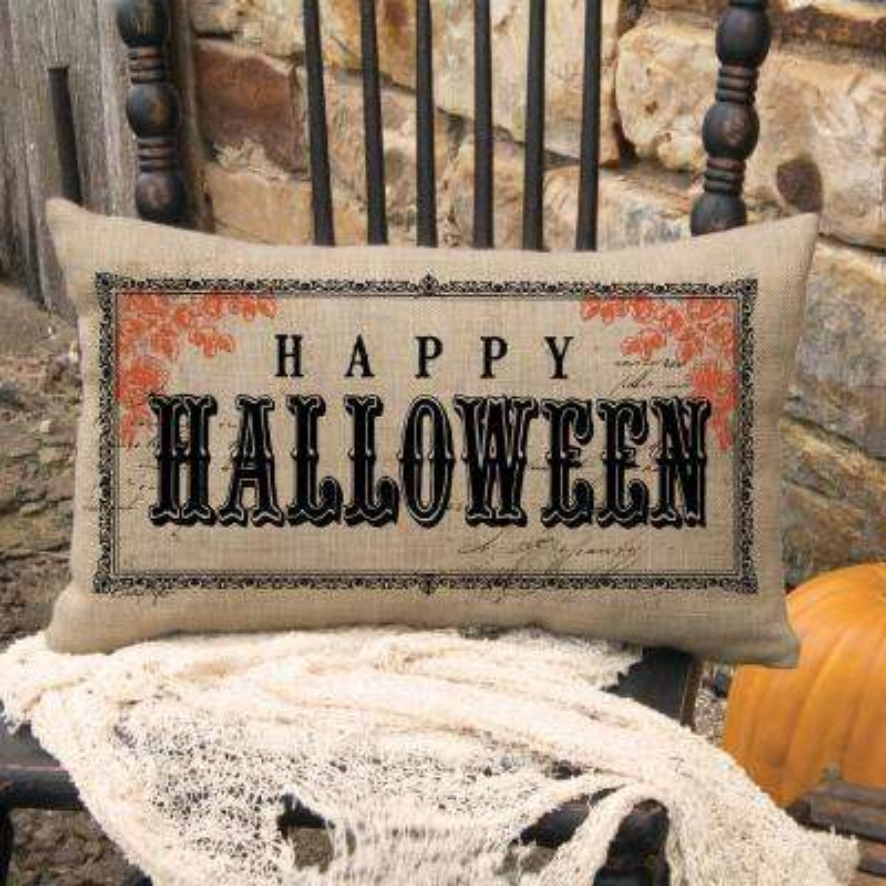 Victorian Halloween Natural Halloween Decorative Pillow
