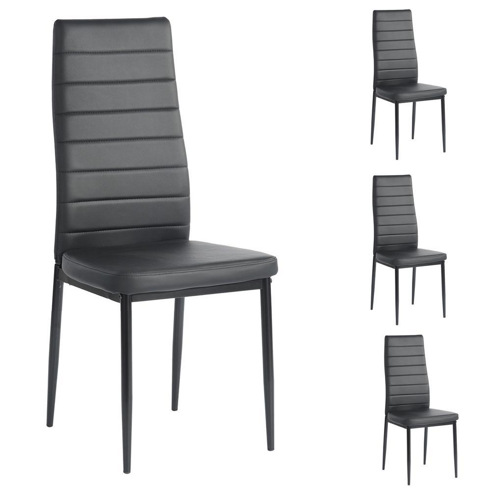 Furniturer Ann Black High Backrest Upholstered Dining Chairs Set Of 4 Ann Kd Black Pvc Dc The Home Depot