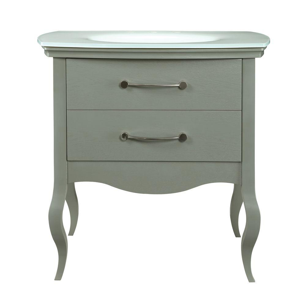 DECOLAV Gabrielle 37 in. W x 21.75 in. D x 35.63 in. H Vanity with Glass Top and Integrated Lavatory in Slate with White Basin