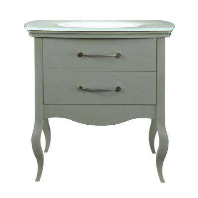 Gabrielle 37 in. W x 21.75 in. D x 35.63 in. H Vanity with Glass Top and Integrated Lavatory in Slate with White Basin