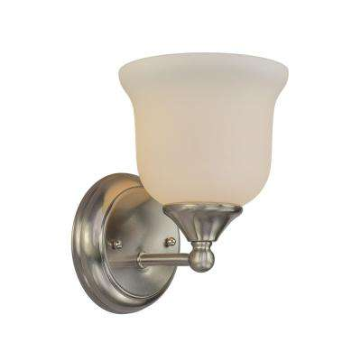 1-Light Brushed Nickel Bath Light with Satin Opal Glass Shade