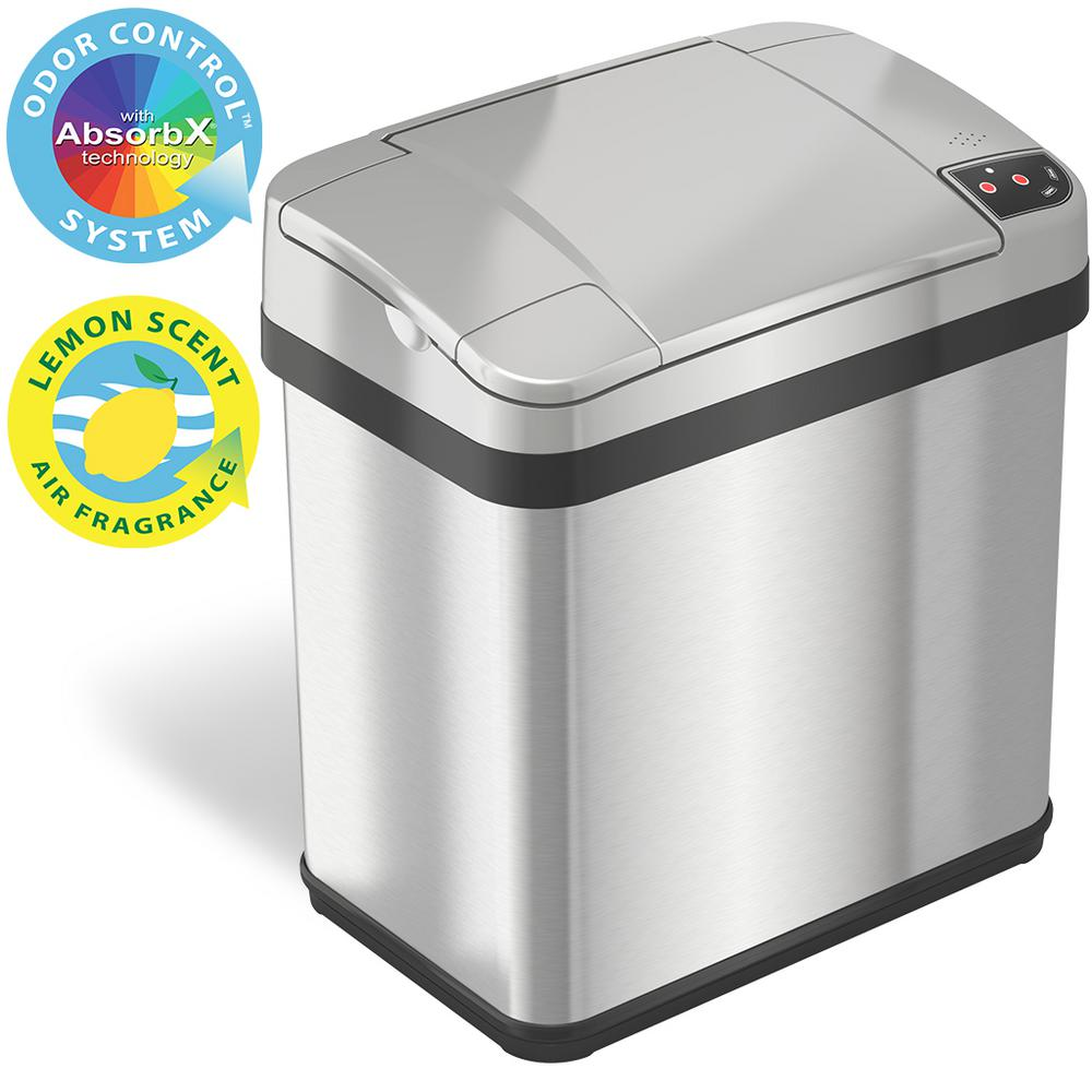iTouchless 2.5 Gal. Stainless Steel Touchless Automatic Sensor Trash Can with Odor Filter and Fragrance