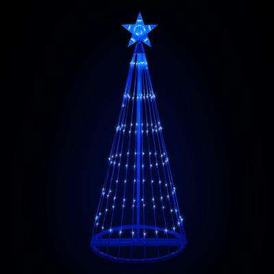 144 in. Christmas Blue LED Animated Lightshow Cone Tree with 442 Lights and Star Topper