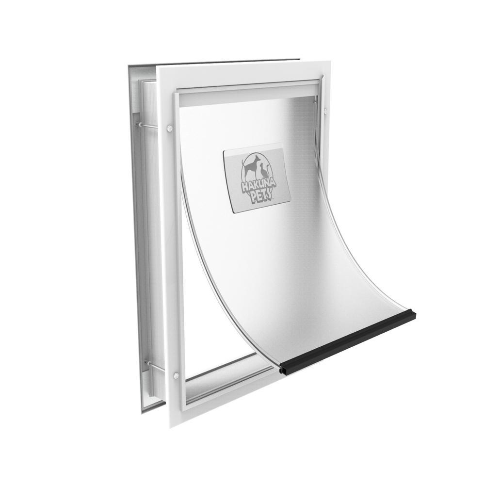 11.4 in. x 16.1 in. Large Deluxe Aluminum Pet Door, Adjustable Tunnel, White