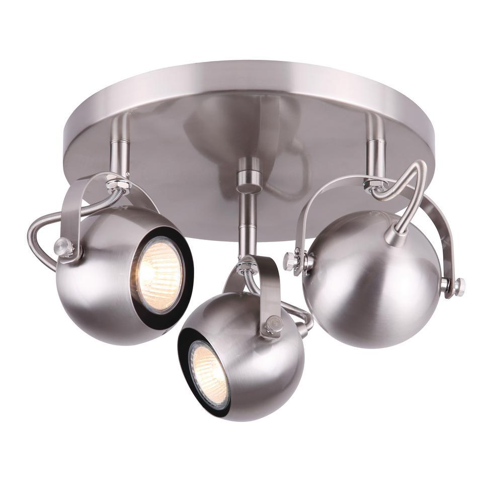 Murphy 0.88 ft. 3-Light Brushed Nickel Halogen or LED Track Lighting Kit