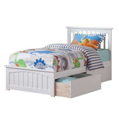 Captivating Mission White Twin Platform Bed With Matching Foot Board With 2 Urban Bed  Drawers