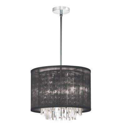 Catherine 3 Light Halogen Polished Chrome Chandelier with Black Organza Shades