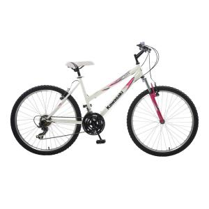 Kawasaki K26G Hardtail Mountain Bike, 26 inch Wheels, 18 inch Frame, Women's Bike in White/Pink by Kawasaki