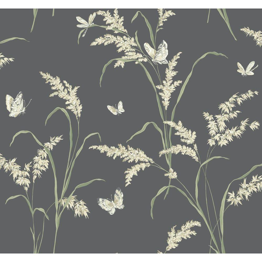 York Wallcoverings Black And White Tall Grass With Butterflies Wallpaper