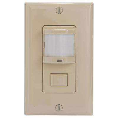 IOS Series 500-Watt In-Wall PIR Vacancy and Occupancy Sensor Switch Decorator 150-Degree Coverage Pattern, Ivory