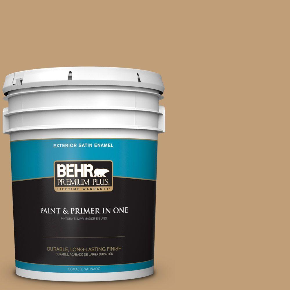 BEHR Premium Plus 5-gal. #300F-4 Almond Toast Satin Enamel Exterior Paint