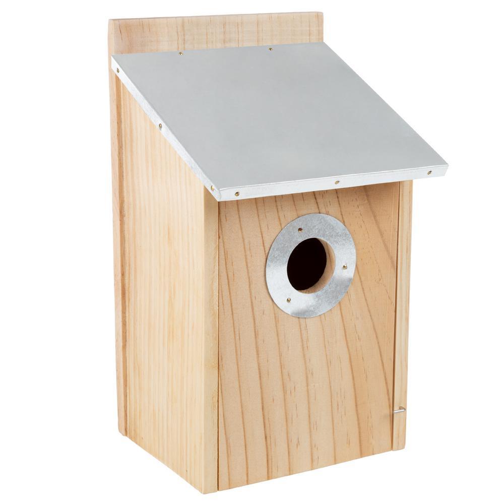 Pine Bird House with Tin Roof