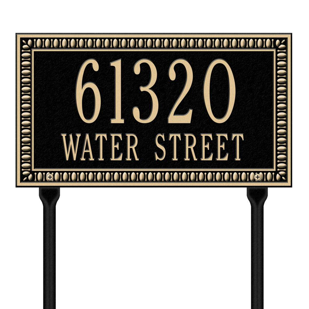 Egg and Dart Rectangular Black/Gold Standard Lawn Two Line Address Plaque