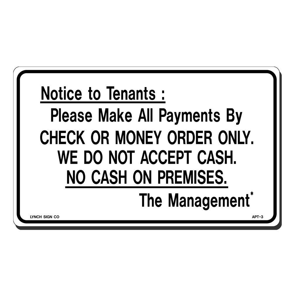 10 in. x 7 in. Notice to Tenants Sign Printed on