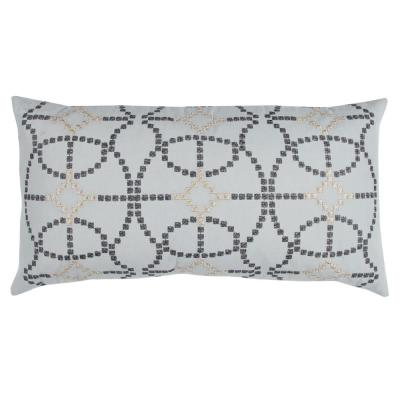 Silver Geometric Polyester 26 in. x 14 in. Throw Pillow