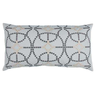 Geometric Textured 14 in. x 26 in. Silver Decorative Filled Pillow