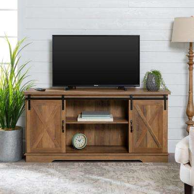 58 in. Rustic Oak Sliding Barn Door Console