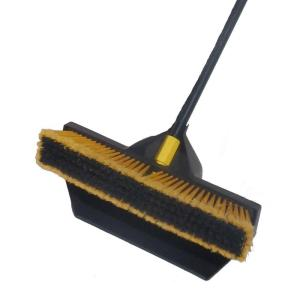 Brovel 18 inch Pre-Attached No Bending Dust Pan and Push Broom by Brovel