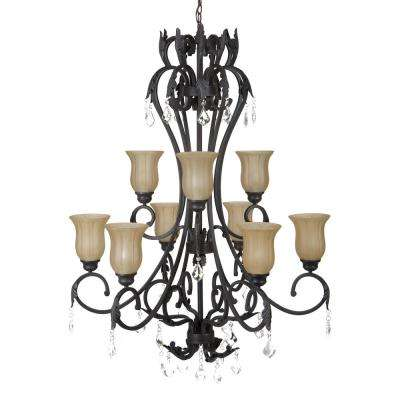 Vantage Collection 9-Light Sierra Slate Chandelier with Amber Glass Shade
