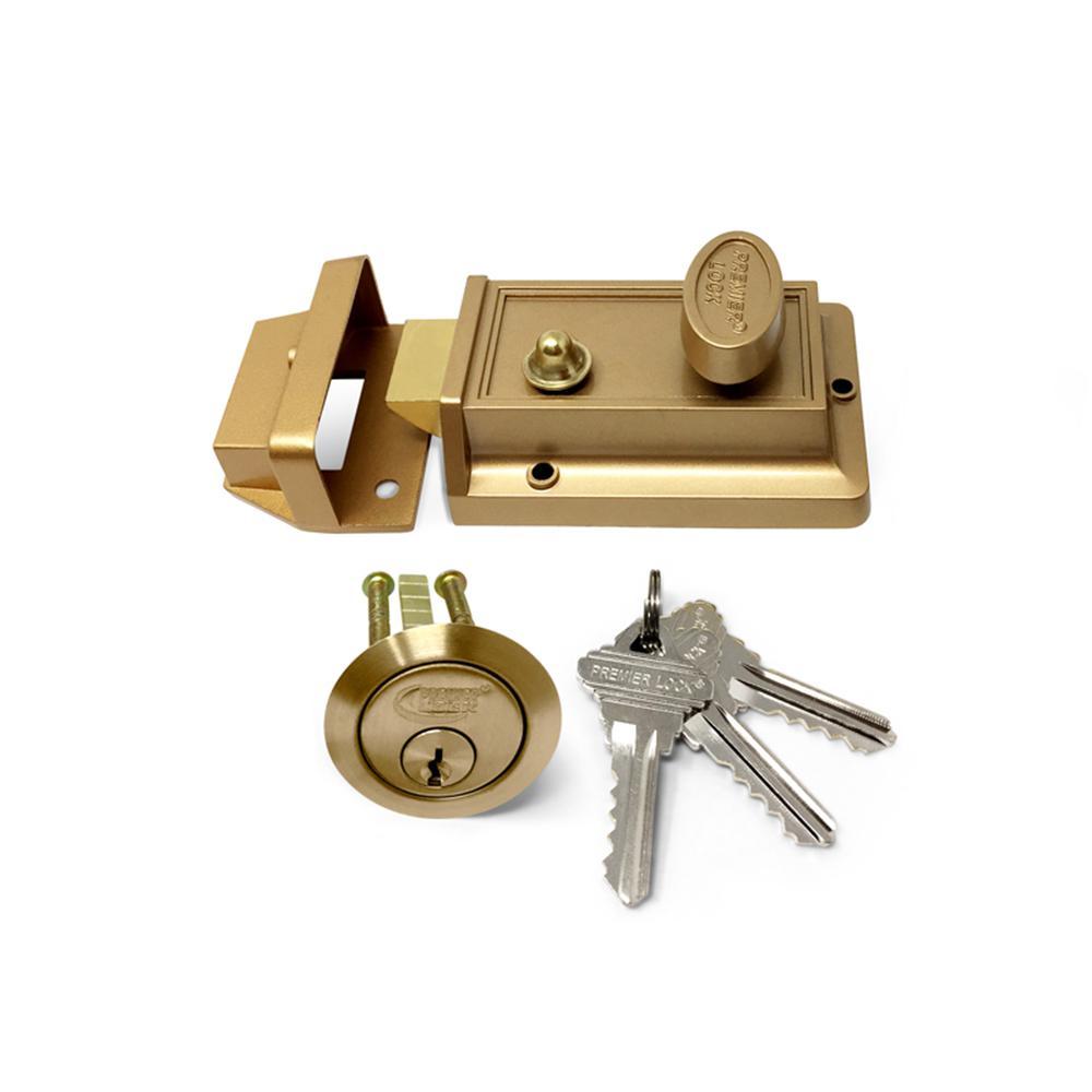 Bronze Laquer Single Cylinder Deadbolt Lock with Night Latch, Holdback Button Rim Cylinder, and 3 SC1 Keys