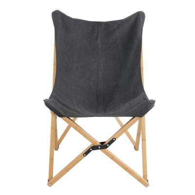 Black Canvas and Bamboo Butterfly Chair
